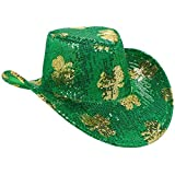 St. Patrick's Day Sequined Cowboy Hat Costume Party Head Wear Accessory (1 Piece), Green, 5'' x 13''.