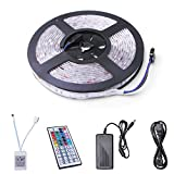 Relohas 16.4ft Waterproof LED Flexible Light Strip, 150 Units SMD 5050 LEDs, 12V DC RGB Led Strip Kits With 44 Key IR Remote Controller DIY for Christmas Holiday Home Kitchen Car Decoration