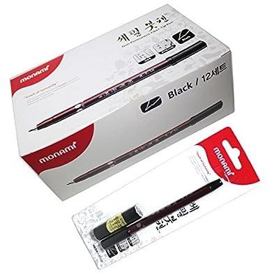 X12 Monami Narrow Tip Calligraphy Brush Pen, Refill Ink Cartridge,kanji China - Pack of 12 Brush Pens