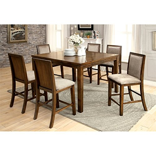 Furniture of America Lydon 7 Piece Counter Height Dining Set in Walnut