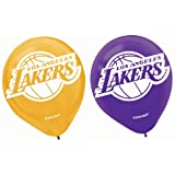 (US) Amscan La Lakers Printed Latex NBA Basketball Team Party Balloons, 12
