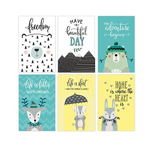 Set Of 6 11x17 Nursery Wall Art Posters | Woodland Prints For Kids Room Decorations | Wildlife Animal Poster Perfect To Decor The Bedroom Of Your Baby | Nature Theme Decoration Pictures (Bold And The Beautiful 11 6 17)