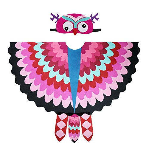 Kids Cozy Owl Bird Wings Costume Feathered with Headdress - Toddlers Animal Dress-up Cosplay Cape (#3 Rose) for $<!--$15.90-->