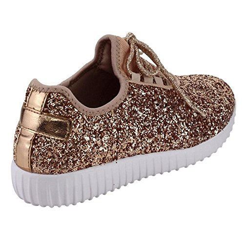 Forever Link Women's REMY-18 Glitter Fashion Sneakers Rose Gold 5.5 B(M) US by Forever Link (Image #7)