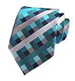 Men's Repp Cyan Blue Grey Check Tie Spring Summer Wedding Groom Designer Necktie