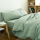 Pure Color Bedding Sets - MeMoreCool 100% Washed Cotton 5 Pieces Reactive Printing YKK Hidden Zipper Multiple Optional Twin