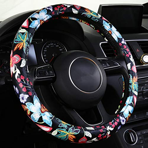 (SHAKAR Jacquard Flowers Steering Wheel Covers, Floral Steering Covers for Women,Universal 15.2 inch (Red))