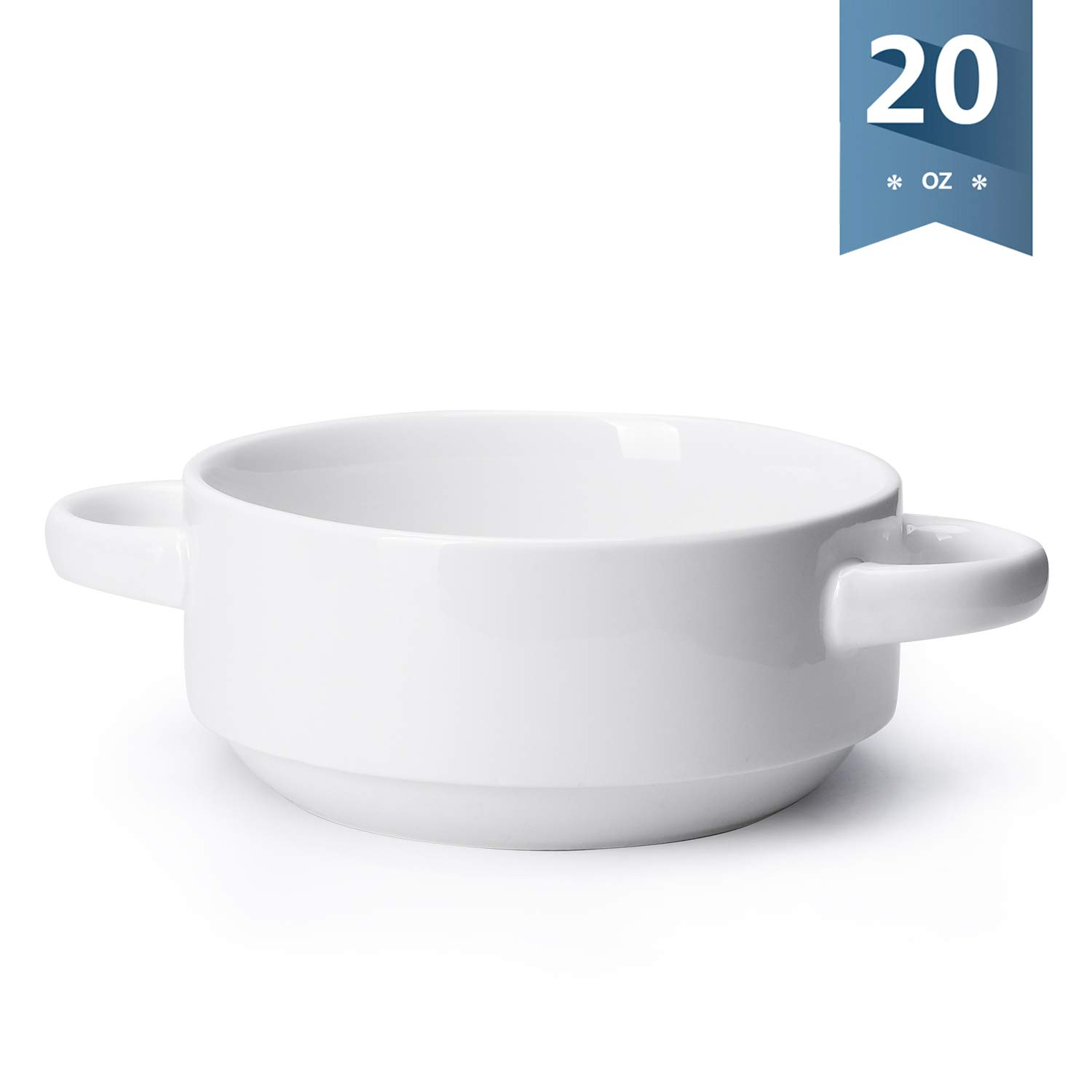 Sweese 108.000 Porcelain Bowl with Handles - 20 Ounce for Soup, Cereal, Stew, Chill, Set of 1, White