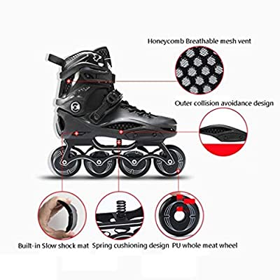 Sljj Outdoor Adult Beginner Black Inline Skate Combo, Boys Girls White Unique Racing Skates Illuminating Wheels (Color : White, Size : 41 EU): Home & Kitchen