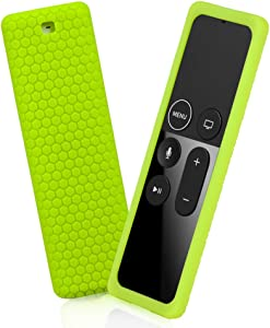 Remote Silicone Case Compatible with Apple TV 4K 4th 5th Gen Remote, Full Access, Anti-Slip, Shock Proof Protective Cover (Honeycomb Series) for Apple TV 4K 4th 5th Siri Remote Controller (Green)