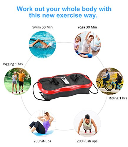 iDeer Vibration Platform Fitness Vibration Plates,Whole Body Vibration Exercise Machine w/Remote Control &Bands,Anti-Slip Fit Massage Workout Vibration Trainer Max User Weight 330lbs (Red09003) by IDEER LIFE (Image #4)