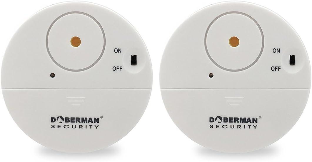 Alarma casa, WER Alarma Hogar de Seguridad de Ventana Dóberman Ultrafino/ Sensor de Vibración para Ventana y Puerta - Blanco/2 Unidades