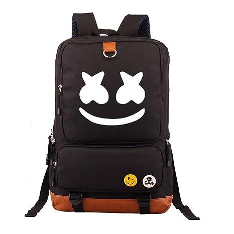 69b4dac75a Marshmello face Alone DJ Backpack Book Bag Marshmello Children School Bags  Men Women Hip Hop Backpack for Girls and Boys (Black)  Amazon.co.uk  Luggage