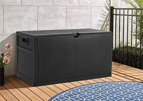 CrownLand 120 Gallon Outdoor Storage Deck Box Resin Container Weatherproof Deck Storage Box Containers Patio Garden Furniture Outdoor Storage Boxes All Weather Using,Black