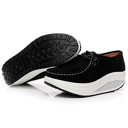 Sneaker Scamosciato Scarpe Nero Addestratore Shenn Donna Piattaforma Pelle Comodo Cuneo xwIxqg0Of
