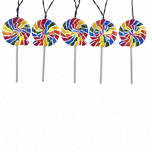 Kurt Adler Battery-Operated 5-Piece 20 LED Multicolored Swirl Lollipop Light Set