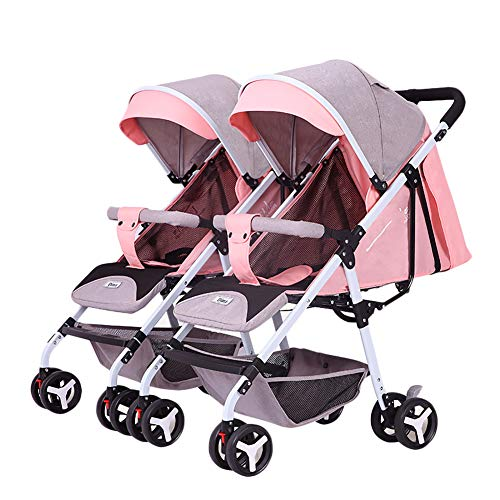 AMENZ Travel Pushchair,Twin Stroller, Extra Small Folding, One Hand Fold, Lightweight, Every Day fold and Unfold Definitely, 0-4 Years Old Newborn - Double Pram Pink