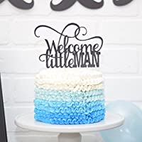 Welcome Little Man Baby Shower Cake Topper Sip and See