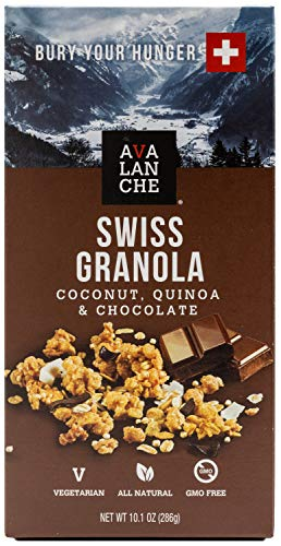 Avalanche Coconut, Quinoa & Chocolate Swiss Granola, 10.1 Ounce Bag (Pack of 2) Non-GMO, All Natural, Kosher, Portable Packet of Granola, Convenient Size Snack On The Go, Can Pour in Milk or Yogurt