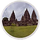 Pixels Round Beach Towel With Tassels featuring ''9th Century Hindu Temple Prambanan'' by Pixels