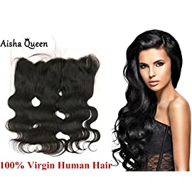 Aisha Queen 13×4″ Virgin Human Hair Brazilian Full Lace Frontal Closure Body Wave Ear to Ear with Baby Hair 18″ Side Part
