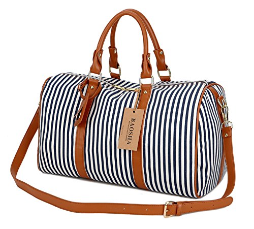 BAOSHA HB-24 Ladies Women Canvas Weekender Bag Travel Duffel Tote Bag Weekend Overnight Travel Bag (Blue) (Weekend Bag)