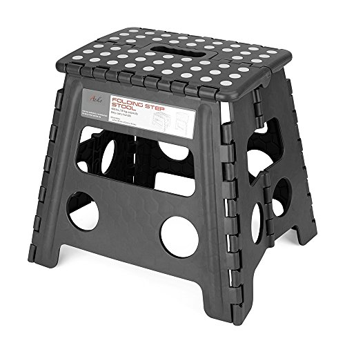 Acko Folding Step Stool - 13 inch Height Premium Heavy Duty Foldable Stool For Kids & Adults, Kitchen Garden Bathroom Stepping Stool (Black) Folding Step Stool