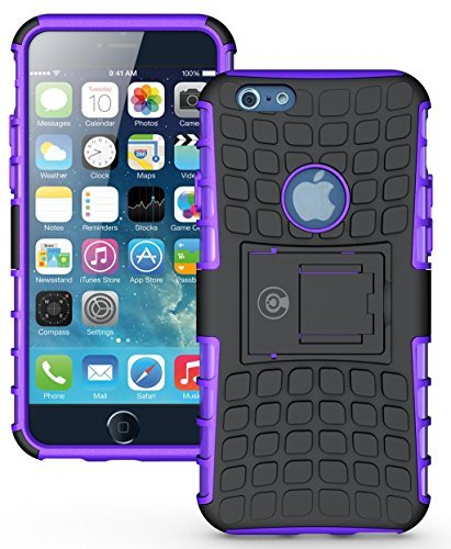 Cable And Case iPhone 6S Case, iPhone 6 Case [Heavy Duty] Tough Dual Layer 2 in 1 Rugged Rubber Hybrid Hard/Soft Impact Protective Cover [with Kickstand] Shipped from The U.S.A. - Purple (Best Selling Qvc Item Of All Time)