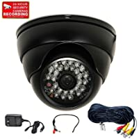 VideoSecu Built-in 1/3 Sony CCD Outdoor IR CCTV Dome Surveillance Security Camera Day Night 480 TVL 28 Infrared LEDs Vandal Proof Wide Angle Lens with Power Supply and Cable WF0