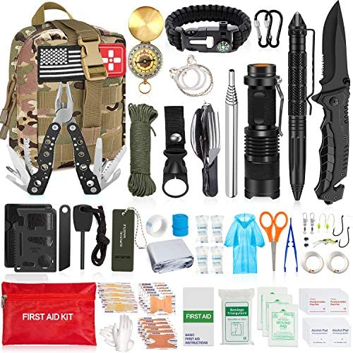 Aokiwo 126Pcs Emergency Survival Kit and First Aid Kit Professional Survival Gear SOS Emergency Tool with Molle Pouch for Camping Adventures