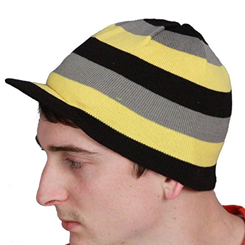 Striped Yellow Grenade Reversible Beanie