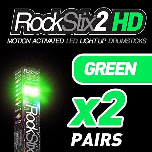 with fade effect,... ??ROCKSTIX 2 HD GREEN BRIGHT LED LIGHT UP DRUMSTICKS
