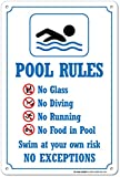 Swimming Pool Rules Safety Sign - 14'' X 10'' - .55 Heavy Duty Plastic - Made in USA - UV Protected and Weatherproof - A82-234PL