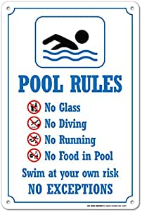 Swimming Pool Rules Safety Sign 14 X 10 55 Heavy Duty Plastic Made In Usa
