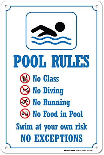 Swimming Pool Rules Safety Sign - 14'' X 10'' - .55 Heavy Duty Plastic - Made in USA - UV Protected and Weatherproof - A82-234PL by My Sign Center
