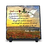 God Is Our Refuge And Strength, A Very Present Help Psalm 46:1-2 (7.5X7.5, KJV) | Superior Religious Inspirational Home Décor Christmas Gifts Slate | Christian Home Plaque Stone Gift For Sale