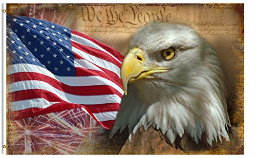 Eagle Polyester Flag - ShineSnow USA Vintage American Flag Bald Eagle 3x5 Feet Flag, Polyester Double Stitched 4th of July Memorial Independence Day with Brass Grommets 3 X 5 Ft Flag for Outdoor Indoor Decor