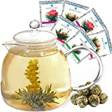 GROSCHE Munich 42 oz. Glass Teapot with 6 TEA BLOOMING FLOWERS! Glass Tea Infuser, 1250 ml (42 fl oz) capacity. Watch your Tea Bloom in the teapot!