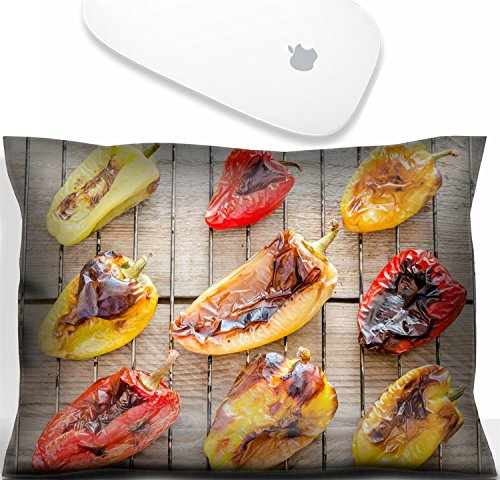 Luxlady Mouse Wrist Rest Office Decor Wrist Supporter Pillow Natural Rubber Mousepad. IMAGE: 31678188 grilled bell peppers