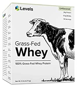 Levels 5LB Unflavored 100% Grass Fed Whey Protein, Undenatured, No GMOs