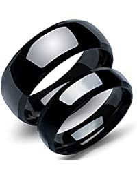 Stainless Steel Unique Pure Black Matching Couple/Friendship Rings for Him and Her Sets