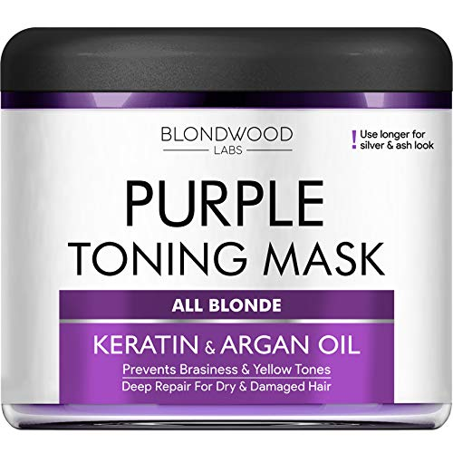 Purple Hair Mask - Goes well Purple Shampoo for Blonde Hair - No Yellow Hair Toner for Brassiness with Retinol and Keratin - Overtone Purple for Ash, Platinum & Blonde Hair - Made in the USA - 8 oz