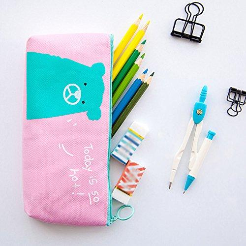 ruikey großes Fassungsvermögen seitenverkehrt Trapezform Leinwand Reißverschluss Studenten Pen Bleistift Fall Creative Pen Pouch Stationery Staubbeutel Make-up-Tasche als Geschenk 7.87*3.15inch #3 #4 3B6FH1VRhz