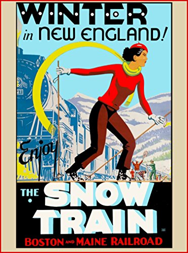 1930s Winter in New England - Enjoy the Snow Train - Boston and Maine Vintage Train Railroad Railways Travel Advertisement Poster. Poster measures 10 x 13.5 - New Train England