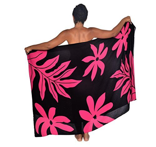 Tahitian Garden with Tiare and Luwai Hawaii Sarong Pareo BeachWrap Swimsuit Coverup