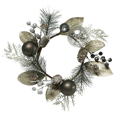 URBAN CHIC SILK CANDLE RING WITH PINECONES, BALLS, AND BERRIES (Candle Ring Pinecone)