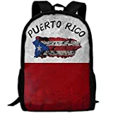 OIlXKV Faded Puerto Rico Flag Print Custom Casual School Bag Backpack Multipurpose Travel Daypack For Adult
