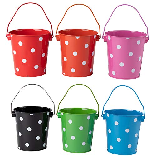 Colored Mini Metal Buckets - 6-Pack Colorful Tin Pails with