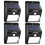 Litom Super Bright 8 LED Solar Lights Wireless Security Light Outdoor Motion Sensor Lights for Patio Deck Yard Garden-4 Pack
