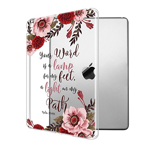 FINCIBO iPad Air Ultra-Clear Silicone Case, Super Slim Scratch-Resistant Shock Absorbing Transparent TPU Cover Case for Apple iPad Air Tablet, Christian Bible Verses Psalm 119:105